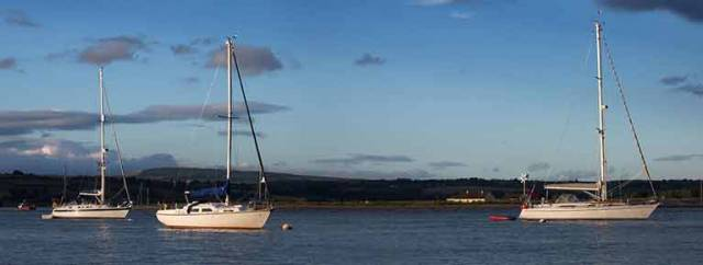 Yachts on visitor moorings in Youghal