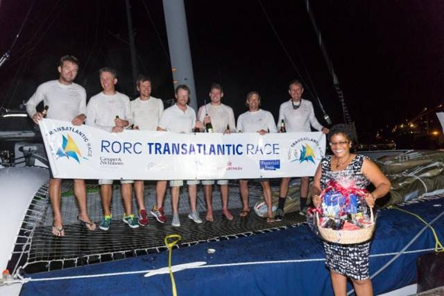 Phaedo3 does it again! A fantastic spice island welcome in Grenada for the team as they complete the 2016 RORC Transatlantic Race © RORC/Arthur Daniel