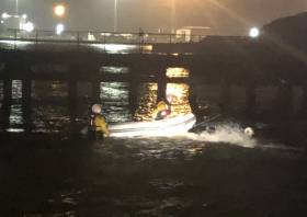 Invergordon RNLI's volunteer crew recovering the RIB at Nigg in the Highlands