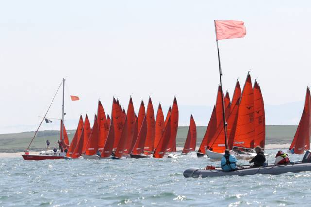 One of Tuesday's starts for the 43-boat Squib fleet
