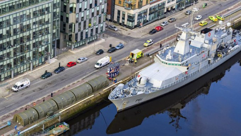 Helping Out: Army-style field hospitals to be used in worst-case scenario. AFLOAT adds note the tents on the quayside of the Naval Service offshore patrol vessel L.E. Samuel Beckett berthed in Dublin on the Liffey