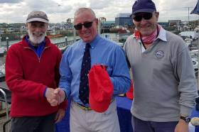Vincent Delany (left) with HYC Commodore Ian Byrne (centre) and Noel Colclough finished third overall