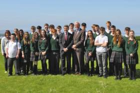 Canadian Ambassador to Ireland Kevin Vickers with Marine Institute CEO Peter Heffernan and students from Calasanctius Secondary School in Oranmore