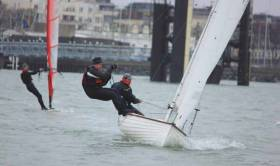 Pierre Long and John Parker sailing an IDRA 14 are third overall in series two of the DMYC Frostbite Series