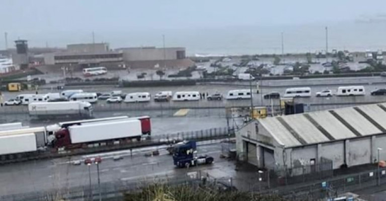 A convoy of caravans lined up to board a ferry at Rosslare Europort recently