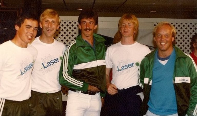 The Irish Laser team at the 1983 World Championships from left: Mark Lyttle, Con Murphy, John Simms, Frank Glynn and Bill O'Hara