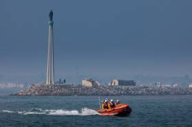Dun Laoghaire RNLI's inshore lifeboat in exercise at Bull Island