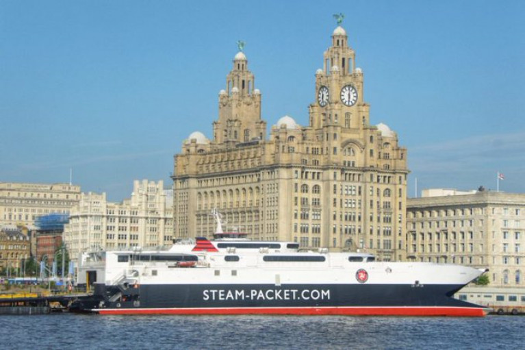 The Isle of Man fastferry craft Manannan, AFLOAT adds which operates the Douglas-Liverpool (seasonal) route berthed at the Pier Head of the English north-west port.