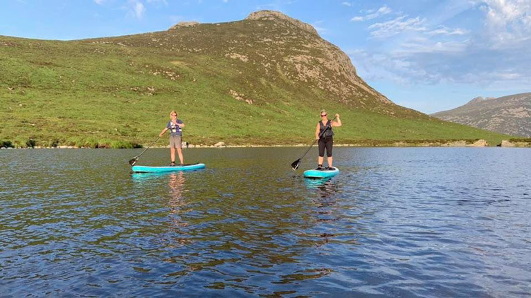 Stand up paddleboarding on Lough Shannagh
