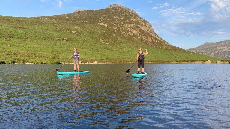 Paddleboarding in the Mountains