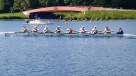 NUIG's women's senior eight in action at Dorney Lake at the weekend.