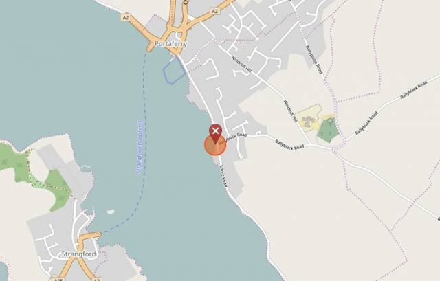 The location of the sunken vessel at the end of Cook Street Quay south of Portaferry
