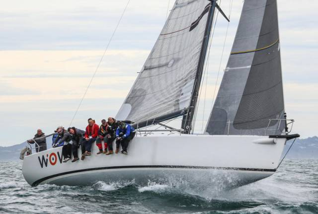 On corrected time, Rockabill is ahead overall and second to George Sisk's Farr 42 WOW (pictured above) for line honours