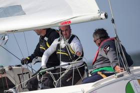 Ireland's John Twomey, Austin O'Carroll and Ian Costelloe competing on day three of the Delta Lloyd Regatta 2016, 26th of May (24/28 May 2016). Medemblik, the Netherlands