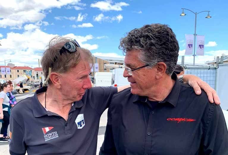 The Irish Club in Hobart – Kieran Jameson of HYC Breakthrough gets together with Jim Cooney of Comanche, Sydney-Hobart course record holder from 2017, and line honours winner again in 2019.