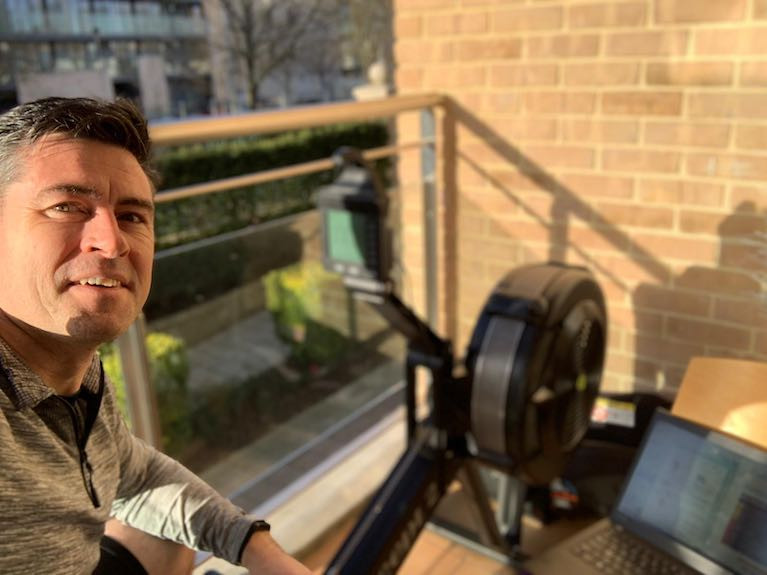St Michael's Coastal Rower Martin Dowd prepares for a session on his Concept 2 rowing machine at home