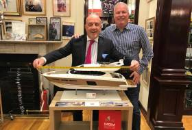 Made to measure – Dublin Tailor Louis Copeland (left) runs a rule over Gerry Salmon's new Prestige model that the Dublin Boat dealer is exhibiting in Southampton this week