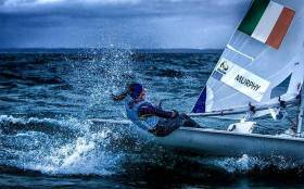 Annalise Murphy sailing her Laser Radial on Dublin Bay after her medal win in Rio
