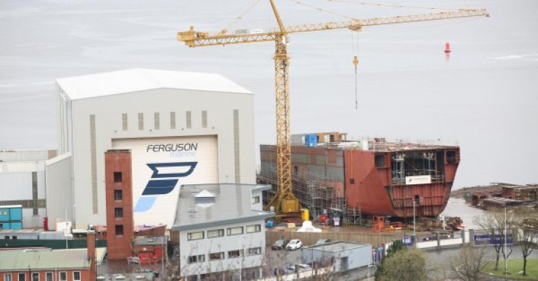 The Scottish west coast shipyard of Ferguson Marine on the Clyde where Afloat adds in this file photo is hyprid newbuild ferries Glen Sannox and sister new build for operator CalMac.