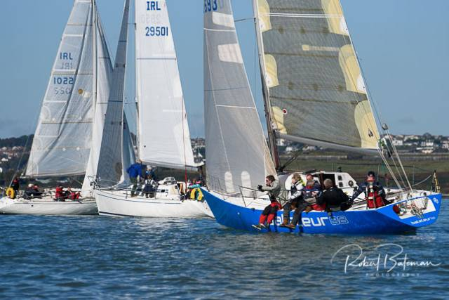 Yachts wait for wind on the third Sunday of RCYC's Autumn League