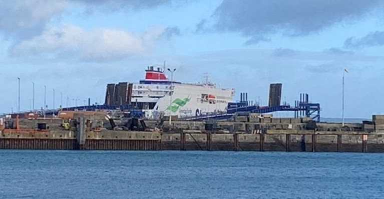The ferry arrived (at Holyhead, north Wales) after a 10,000 mile voyage from the Chinese shipyard where it was built