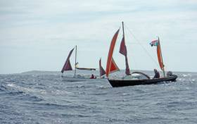 Atlantic sailing – two of the Drascombe flotilla which visited the Aran Islands in July under comfortable rig in the big seas of Galway Bay