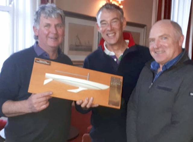 Captain's Prize – FF Captain Mick Quinn (left) presented the half model trophy to Alan Green (centre) and Chris Doorly