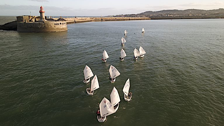 Dun Laoghaire Optimist Group (training) at the the harbour mouth. The Royal St. George Yacht Club will host the Irish Optimist Trials at Dun Laoghaire in May