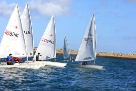 Lasers reach a weather mark in yesterday's in-harbour DMYC Frostbites at Dun Laoghaire