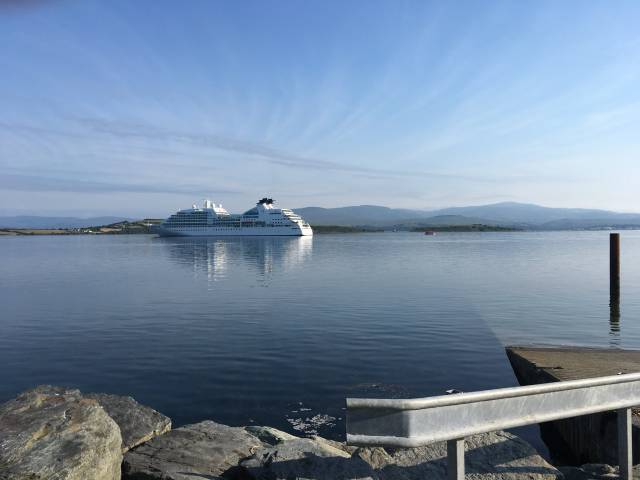 Seabourn Quest at anchor in Bantry Bay, offshore of Abbey Pier