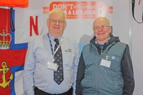 Howth RNLI community safety officer John McKenna with shore angler and accident survivor Colm Plunkett