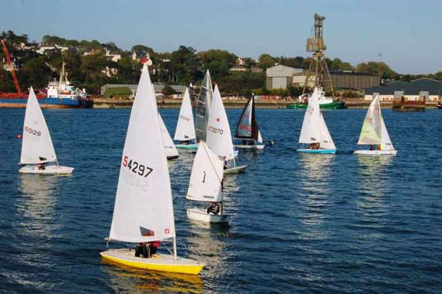 Opening night dinghy racing at-Monkstown Bay Sailing Club in Cork Harbour on-May 2