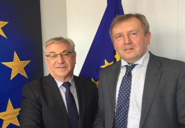 EU Fisheries Commissioner Karmenu Vella (left) with Marine Minister Michael Creed in Brussels