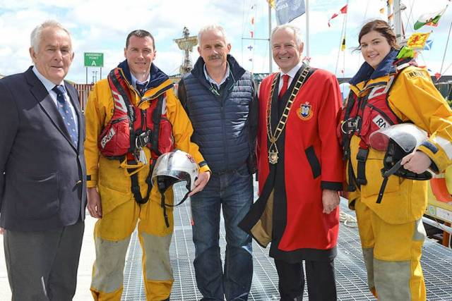 Branch chairman Noel Phillips, lifeboat crew Derek Shevlin, Drogheda Harbour Master Captain Martin Donnelly, Drogheda Mayor Oliver Tully and lifeboat crew Barbara Kirk at the launch of Clogherhead RNLI's lifeboat appeal