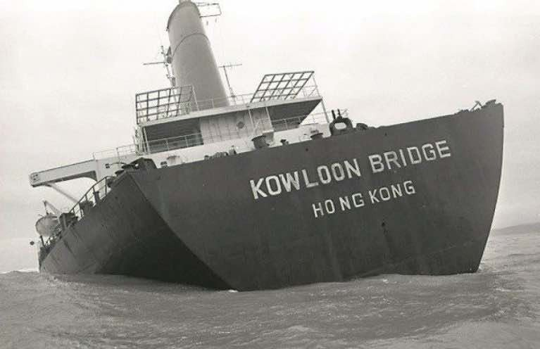Kowloon Bridge: Her cargo of 160,000 tonnes of iron ore pellets, said to have been insured for stg£2.7m., still lies on the seabed.