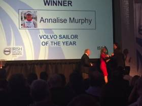 Annalise Murphy taking the stage to accept her Irish Sailor of the Year award at the RDS Concert Hall this evening