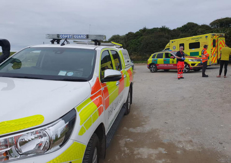 Irish Coast Guard at the scene of the rip current incident at Inch Beach on Sunday