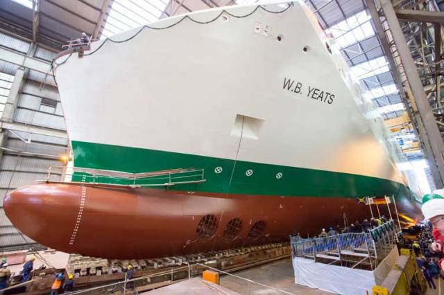 The €150 million, 54,985 gross tonnes cruise ferry will arrive into Dublin next July when it will enter year-round service on Ireland – France and Dublin – Holyhead routes