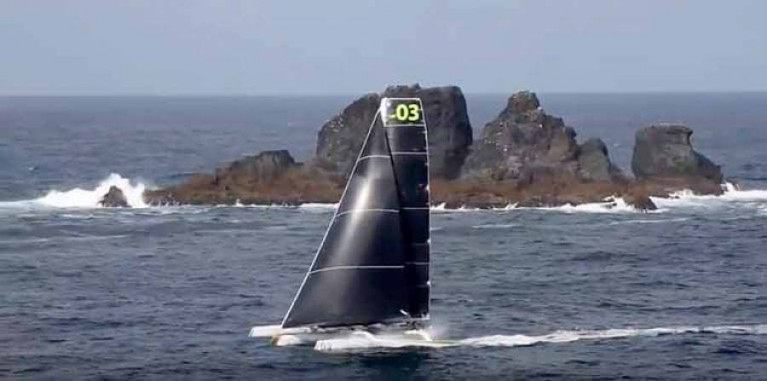 Phaedo 3, record breaking Round Ireland in an anti-clockwise direction in 2016, decides that the Great Foze Rock is not an Irish island, but is part of the Azores archipelago, and may therefore be left to starboard