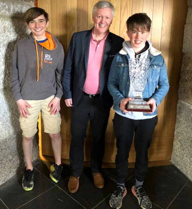 In one of his first roles as RIYC Commodore, Joe Costello presented the overall prizes for the 2018 RS Feva East Coast Championships to overall winners Tim Norwood (Helmsman) left and Finn Cleary (Crew)