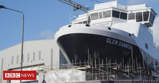 Glen Sannox, the first of a pair of much delayed duel-fuel ferries at the Fergusan Marine shipyard located on the Clyde, Scotland