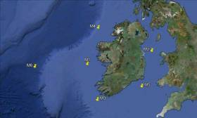 The Locations of the Irish Marine Weather Buoy Network. M5 buoy off the South East Coast recorded 18m high waves this week