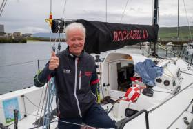 Dun Laoghaire Dingle overall winner Paul O'Higgins, skipper of the defending champion yacht JPK10.80 Rockabill VI from the Royal Irish Yacht Club. Scroll down for photo gallery