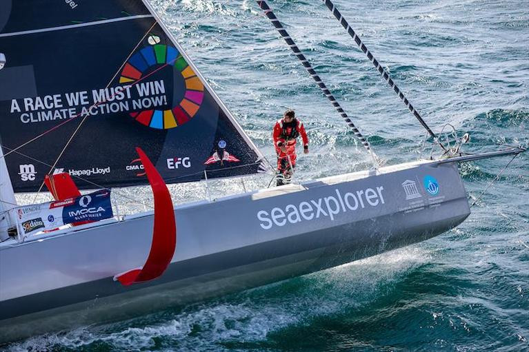 German skipper Boris Herrmann (SeaExplorer-Yacht Club de Monaco) reports damage to his starboard foil