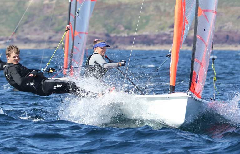 Newcastle Yacht Club sailor Luke McIlwaine on the wire in  a 29er skiff before the lockdown