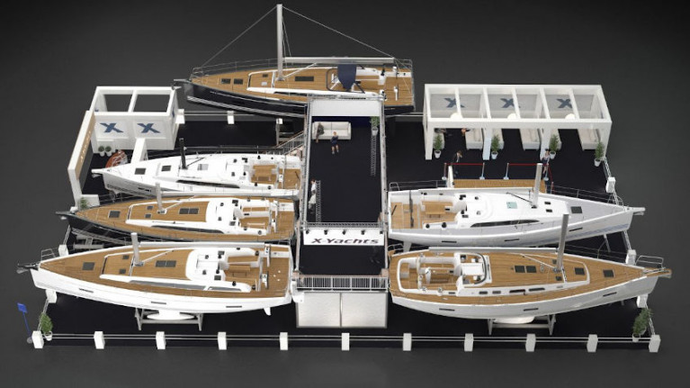 Artist's impression of the X-Yachts stand for boot Düsseldorf 2020