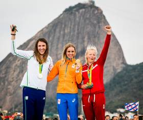 The National Yacht Club's Annalise Murphy (left) celebrates Ireland's first Olympic Sailing Medal in 32 years in Rio.