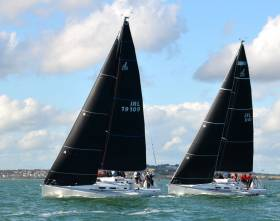 A perfect sailing day – the J/109 Outrajeous (Richard Colwell & Johnny Murphy) showing ahead of National Championship runner-up Storm (Pat Kelly) early in Saturday's racing at Howth, but overall Storm now holds the lead