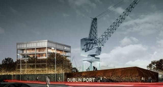 An image of how the proposed relocated crane would look alongside Dublin Port headquarters.
