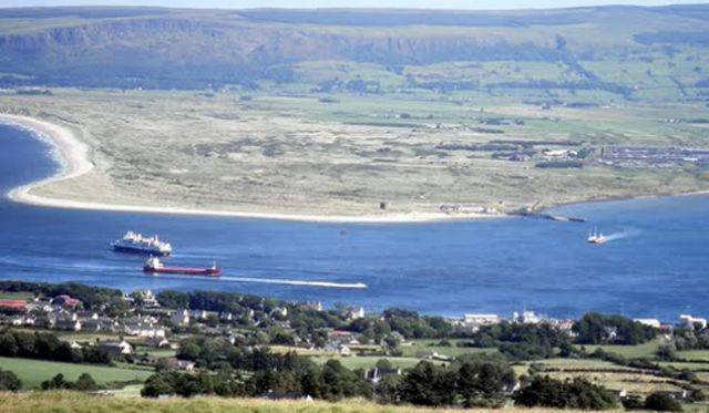 Donegal harbours such as Greencastle on Lough Foyle (above in foreground) could possibly be used post-Brexit to directly import cargoes by ships instead of neighbouring Northern ports.